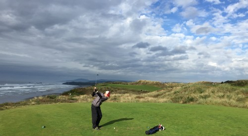 Rome CC's professional, Wes Cupp, competing at the 2014 Speedgolf World Championships at Bandon Dunes Resort in Oregon.